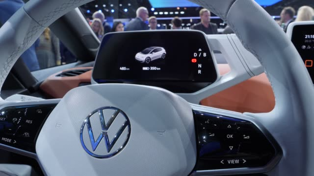 volkswagen presents the new volkswagen id3 electric car with new brand logo at the volkswagen media preview at the 2019 iaa frankfurt auto show on... - electricity stock videos & royalty-free footage