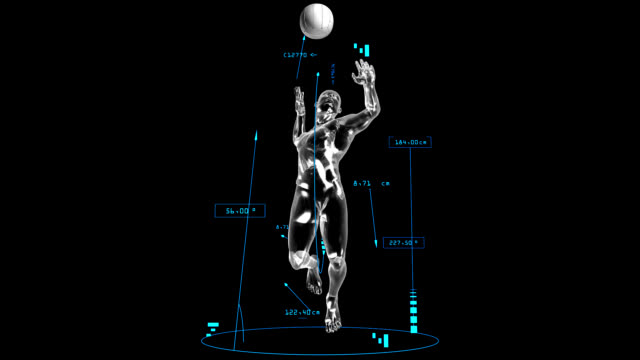 3d volleyball attack man with technical data - volleyball sport stock videos and b-roll footage