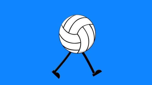 vidéos et rushes de cycle de marche de volley-ball sur un fond d'écran vert de maquette - ball