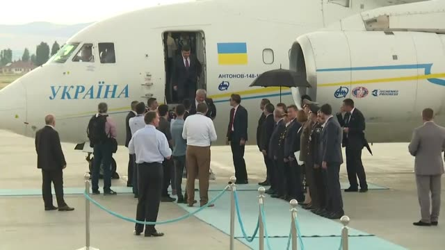 volodymyr borysovych groysman prime minister of ukraine is welcomed by turkish youth and sports minister osman askin bak upon his arrival at esenboga... - governmental occupation stock videos & royalty-free footage