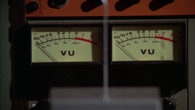 cu volume intensity meters of professional tape recorder - measuring stock videos & royalty-free footage