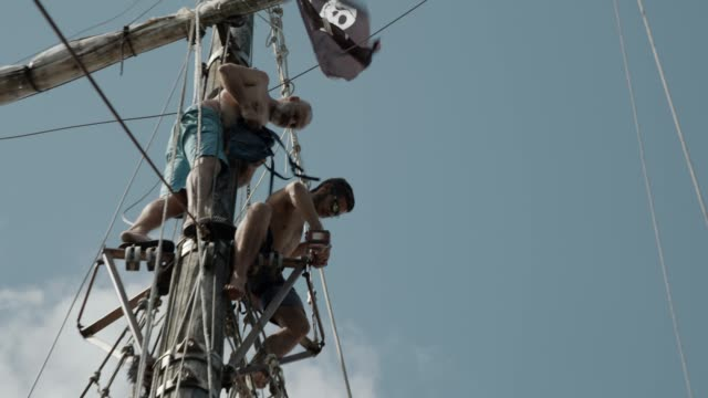 volunteer with diversity background help to repair a historic ship - french overseas territory stock videos & royalty-free footage