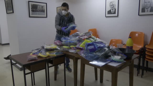 volunteers from makers platform deliver to the dya the first 2000 antisplash facemasks produced in the basque country made with elements and... - three dimensional stock videos & royalty-free footage
