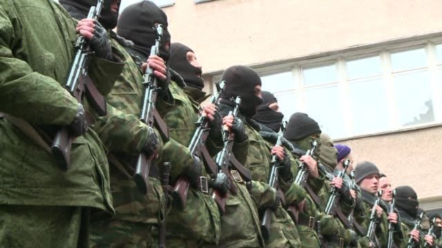 volunteers in crimea are joining a prorussian selfdefence movement to prevent what they consider rightwing extremist proukrainians from sowing... - self defence stock videos & royalty-free footage