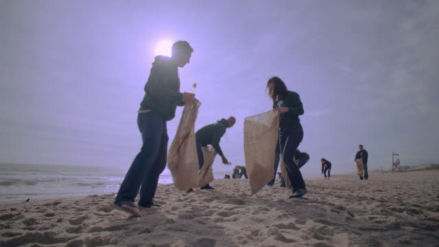vídeos de stock e filmes b-roll de volunteers picking up trash on beach - interatividade