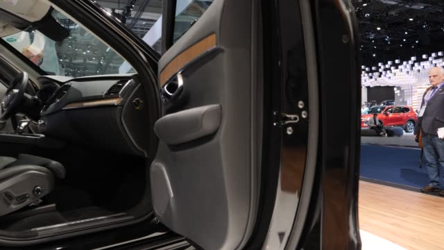 the door armored by the company trasco stands on display during the press days at the 2019 iaa frankfurt auto show on september 11 2019 in frankfurt... - handelsmesse stock-videos und b-roll-filmmaterial