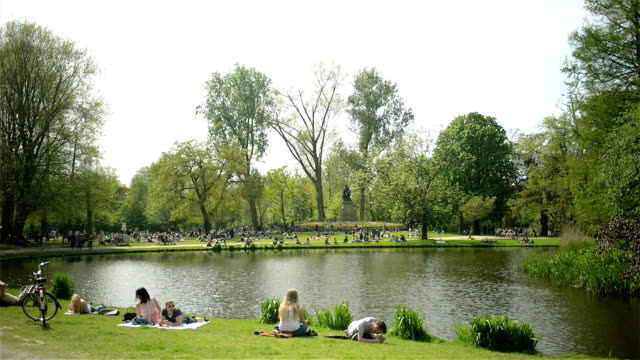 vondelpark amsterdam spring scene - vondelpark stock videos and b-roll footage