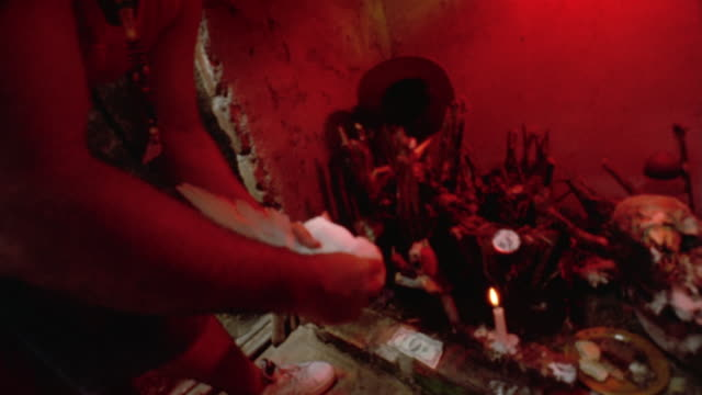 CU, HA, Voodoo ritual, priest pulling dove head, Havana, Cuba