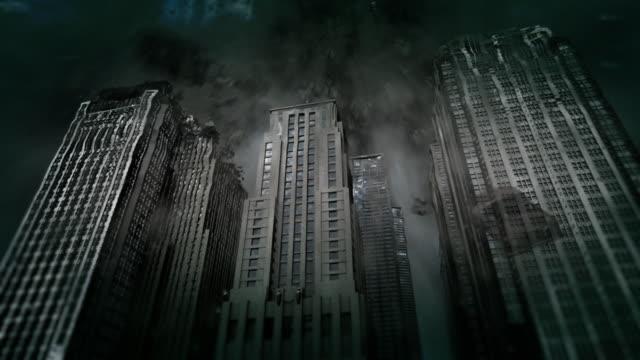 vidéos et rushes de a vortex rips skyscrapers apart. - destruction