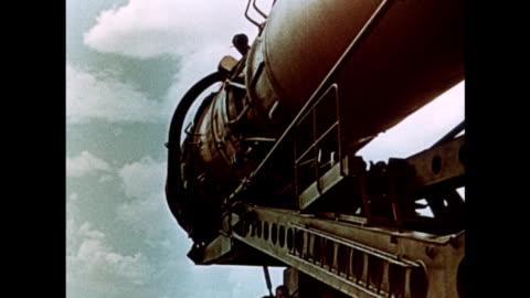 vidéos et rushes de vostok 1 rocket is transported to the cosmodrome - 1961