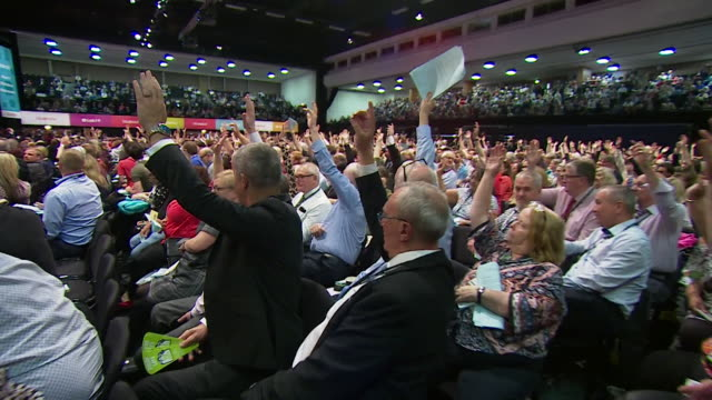 vote at labour party conference to defeat move to campaign now for remain in brexit debate is defeated chaired by wendy nichols of national executive... - discussion stock videos & royalty-free footage