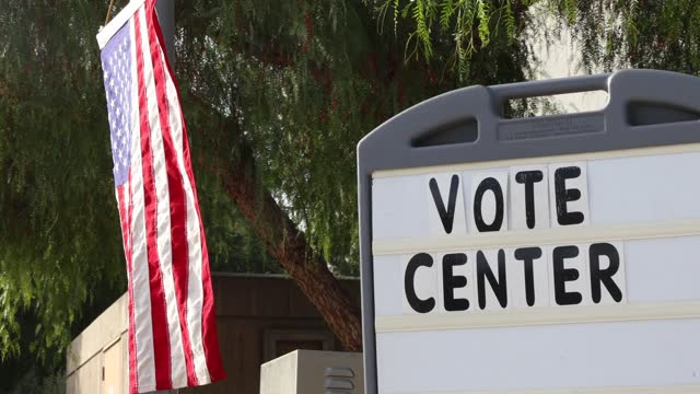 vote center signs stand on a street corner during election day as voters head to polls on election day on november 3 in santa clarita, california.... - santa clarita stock videos & royalty-free footage