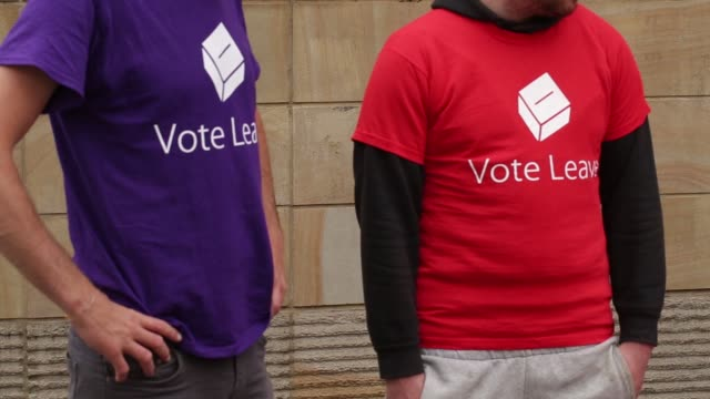 Vote Leave Campaigners hand out promotional materials and talk to the public in Manchester UK on Saturday June 11 2016