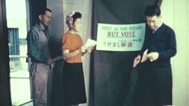 ws voters entering a voting booth at a world war ii war relocation center for interned citizens / united states - voting booth stock videos & royalty-free footage