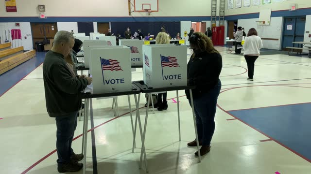 vidéos et rushes de voters fill out their ballots at a school gymnasium on november 03, 2020 in lansing, michigan. after a record-breaking early voting turnout,... - lansing