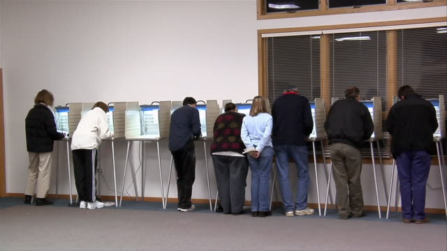 ms, voters in voting booths, rear view, ypsilanti, michigan, usa - ypsilanti stock videos & royalty-free footage