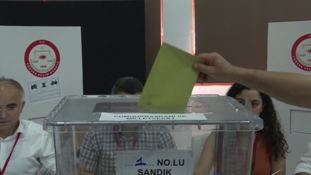 voters registered for the turkish elections cast their ballots in a polling station in the north nicosia ahead of turkey's elections which are due to... - north stock videos & royalty-free footage