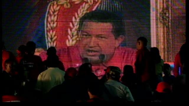 voters reject hugo chavez's plans to rewrite constitution; supporters of president chavez chanting sot hugo chavez speaking on public screen,... - constitution stock videos & royalty-free footage