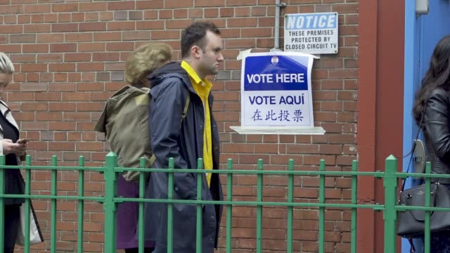 voters wait during the morning to enter a public school on the upper west side of manhattan in new york city - november stock videos & royalty-free footage