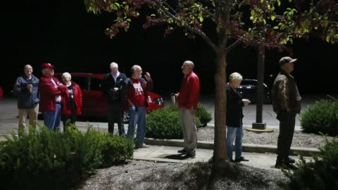 voters wait in line at 5:45 a.m. for the polling sites at st. john's catholic church to open at 6 a.m. in ellettsville, indiana. more than 100 voters... - 2016 stock videos & royalty-free footage