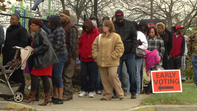 ms voters waiting in line to cast their ballots at early voting location two days before presidential election / toledo, ohio, united states - election stock videos & royalty-free footage