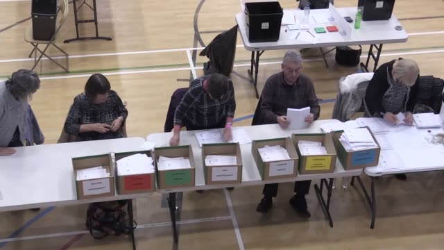 votes are counted at the bolsover constituency count, held at the arc, clowne. boris johnson is on course to secure a tory majority in the commons,... - conservative party uk stock videos & royalty-free footage