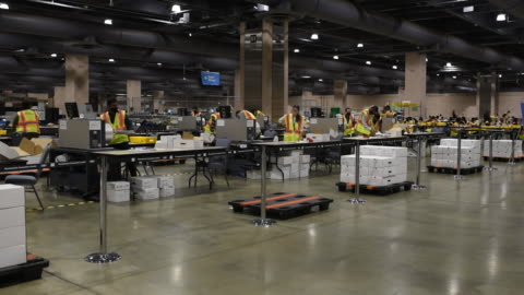 voting and counting ballots on 2020 us presidential election day at the pennsylvania convention center in philadelphia, pennsylvania, u.s., on... - philadelphia pennsylvania stock videos & royalty-free footage