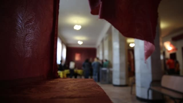 cu voting booth an election official counts votes in a polling station in the lenin palace of culture in slovyansk in eastern ukraine following the... - eastern european culture stock videos and b-roll footage