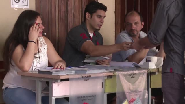 voting centers in paraguay open for the presidential elections which have rightist mario abdo benitez of the colorado party pitted against efrain... - alegre stock-videos und b-roll-filmmaterial