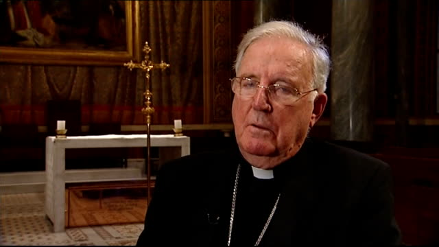 voting for new pope begins; italy: rome: vatican city: int ornate ceiling of english college mosaic on wall cardinal cormac murphy-o'connor along... - cormac murphy o'connor stock videos & royalty-free footage