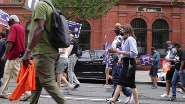 voting rights activists participate in a march from national museum of african american history and culture to lafayette square on august 4, 2021 in... - african american culture stock videos & royalty-free footage