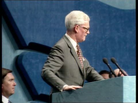 Conservative council conference ENGLAND Devon Plymouth Plymouth Pavilions Douglas Hurd MP arrives on stage at Conservative Central Council conference...