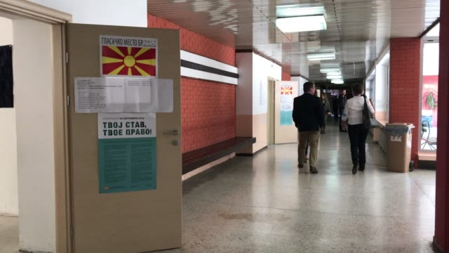 A voting station to cast a vote for the referendum on September 30 2018 in Skopje Macedonia Macedonians all across the country went to the polls...