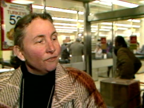 vox pops from a shopper who agrees with edwina currie's views on salmonella in eggs. 1988. - salmonella video stock e b–roll