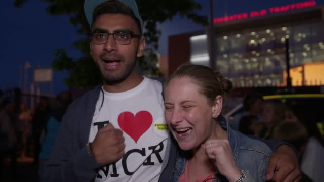 vídeos y material grabado en eventos de stock de vox pops with people leaving the one love manchester show at old trafford cricket ground they talk about the atmosphere inside the event the acts who... - vox populi