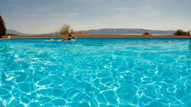 silance vs.noice. man swimming in the swimming pool - eternity stock videos and b-roll footage