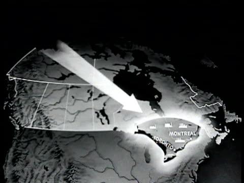 vídeos y material grabado en eventos de stock de w/ arrow pointing to montreal toronto. - narrar