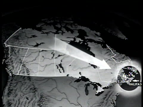 map canada w/ arrow pointing to st john sydney halifax - 1943 stock videos and b-roll footage