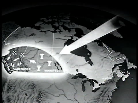 map canada w/ arrow pointing to west canada agricultural area - 1943 stock videos and b-roll footage