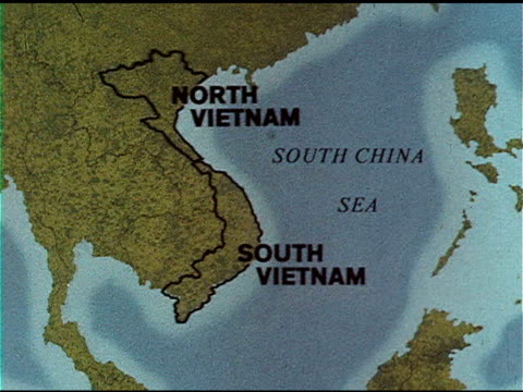 w/ borders of north & south highlighted. - south vietnam stock videos & royalty-free footage