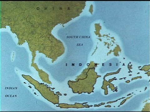 map w/ indonesia island borders highlighted - indonesia map stock videos & royalty-free footage