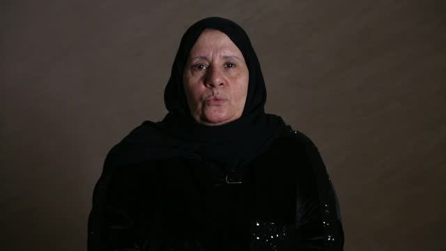 waad al-kateab reflects on 10 years of war in syria; lebanon: beirut: int hajjeh fadwa interview sot - war and conflict stock videos & royalty-free footage