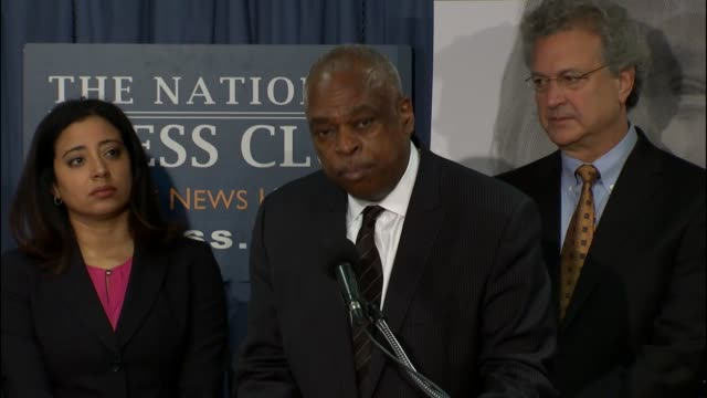 Wade Henderson of The Leadership Conference speaks at a press conference hosted by the Southern Poverty Law Center at the National Press Club to call...