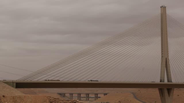 wadi leban bridge. view of the iconic sail-like cables of the wadi leban bridge, one of the world's largest cable-stayed bridges. - cable stayed bridge stock videos & royalty-free footage