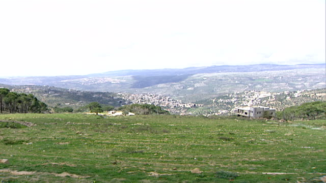 wadi taym. view of the hilly wadi taym region of southern lebanon. - pinaceae stock videos & royalty-free footage