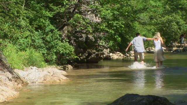 stockvideo's en b-roll-footage met hd: wading down the creek - waden