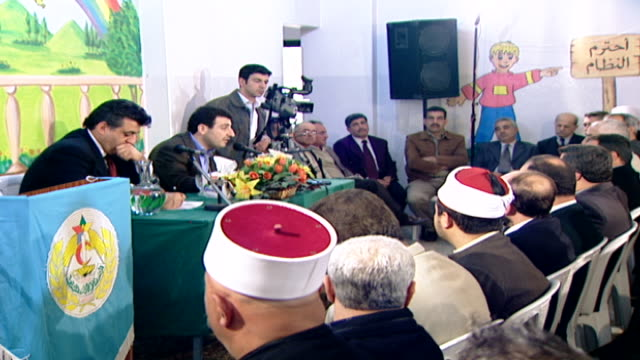 wael abou faour addressing the problems facing palestinians in israel to druze sheikhs in the chouf oc - israel palestine conflict stock videos & royalty-free footage