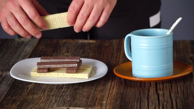 wafer and tea - wafer stock videos and b-roll footage
