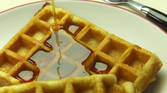 waffle - maple syrup stock videos & royalty-free footage