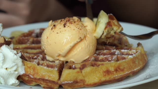 waffle with ice cream vanilla - syrup stock videos & royalty-free footage